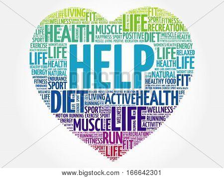 Help Heart Word Cloud