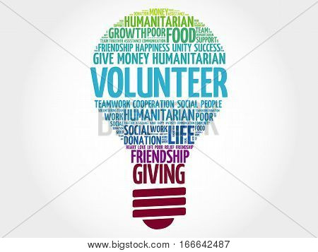 Volunteer bulb word cloud collage , social concept background