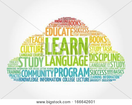 Learn Language word cloud education business concept
