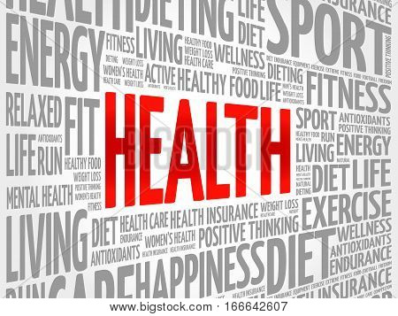 Health word cloud collage, health concept background