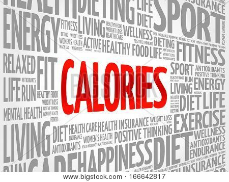 CALORIES word cloud collage, health concept background