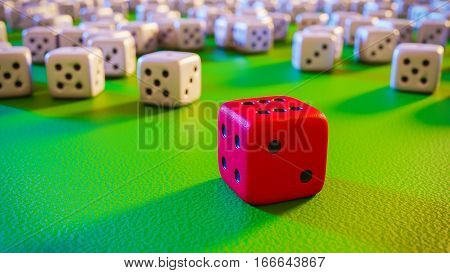 red winning dice over green surface with many losing dices