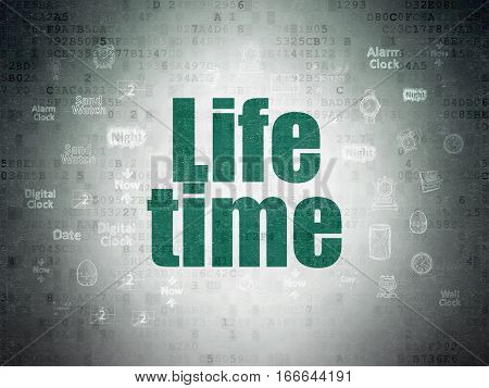 Time concept: Painted green text Life Time on Digital Data Paper background with  Hand Drawing Time Icons