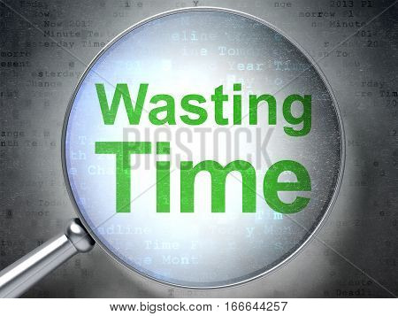 Time concept: magnifying optical glass with words Wasting Time on digital background, 3D rendering