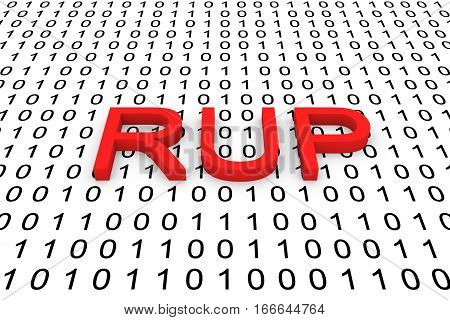 RUP in the form of binary code, 3D illustration