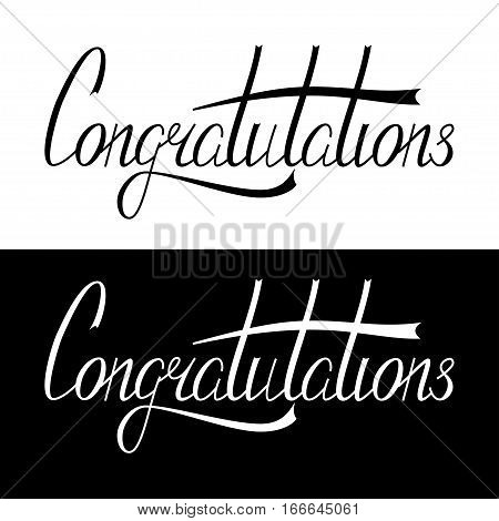 Hand written congratulation lettering made in vector. Congratulation card. Calligraphic banner, template, postcard, poster