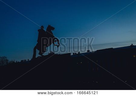 Equestrian statue of Peter the Great in Saint-Petersburg, Russia. Opened in 1782.