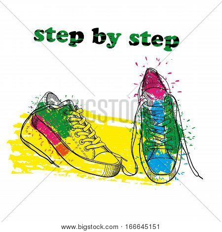 Vector illustration of Hand drawn sport shoes with watercolor effect, ink, art and blot object. Step by step. Green spring.