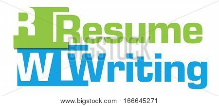 Resume writing text alphabets written over green blue background.