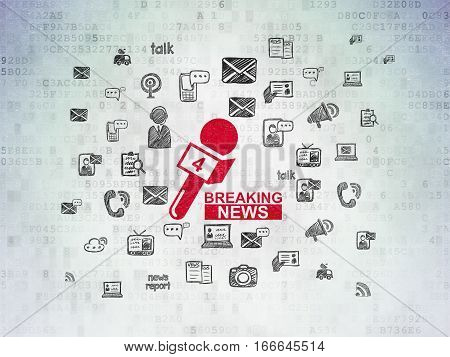 News concept: Painted red Breaking News And Microphone icon on Digital Data Paper background with  Hand Drawn News Icons
