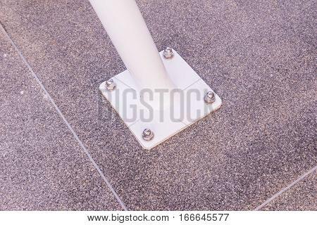 Construction details : Structural details of base plate of sun shade round steel column