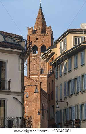 Monza (Brianza Lombardy Italy) : the medieval Arengario palace built in 13th century (1293) and other historic buildings situated in Roma square