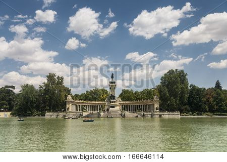 MADRID, SPAIN - JULY 22, 2016: Madrid (Spain): palace and lake in the Park of Buen Retiro