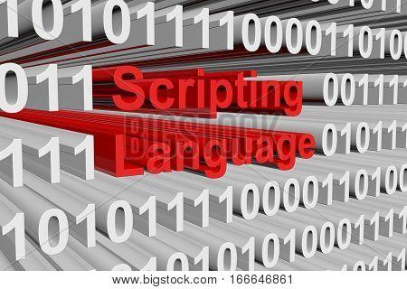 scripting language as binary code, 3D illustration