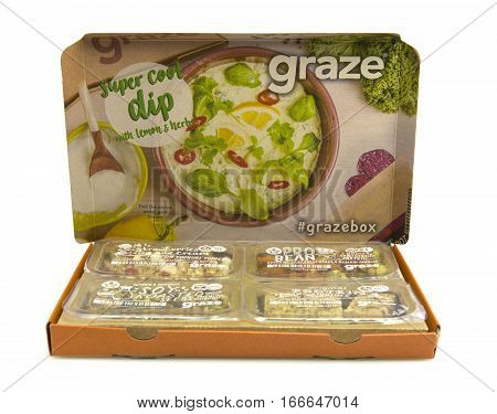 SWINDON UK - JANUARY 25 2017: New 2017 Snackspiration Graze Box by graze.com snacking reinvented healthy snacks delivered to your door or work place