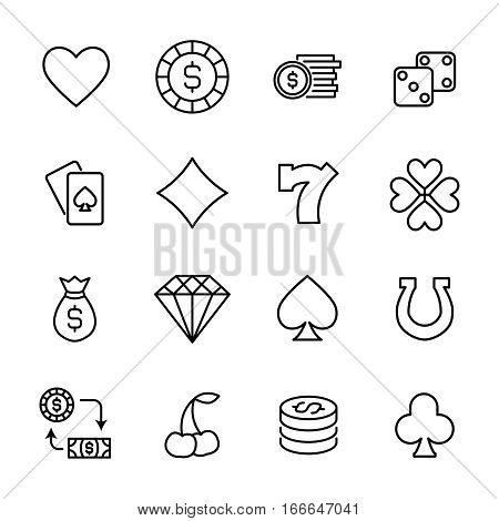 Set of gambling in modern thin line style. High quality black outline casino symbols for web site design and mobile apps. Simple gambling pictograms on a white background.
