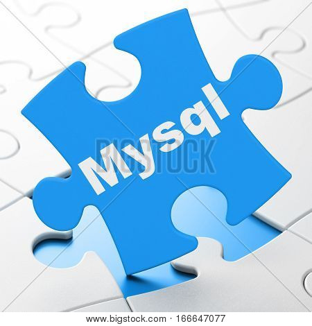 Programming concept: MySQL on Blue puzzle pieces background, 3D rendering