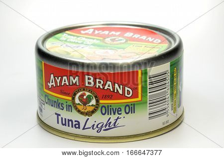SINGAPORE - JAN 252017: Tuna fish by Ayam Brand. Ayam Brand founded in Singapore in 1862 today among the popular household brand in Asia.