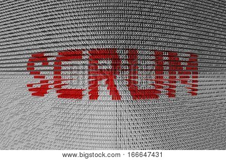 SCRUM in a binary code, 3D illustration
