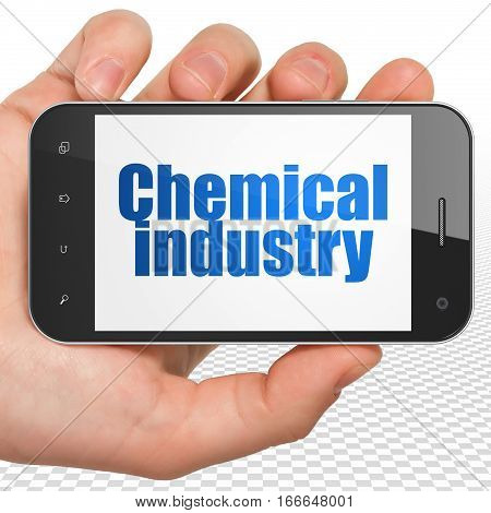 Industry concept: Hand Holding Smartphone with blue text Chemical Industry on display, 3D rendering
