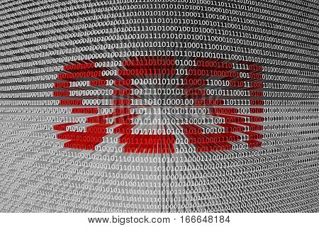 SCSI are represented in the form of binary code 3d illustration