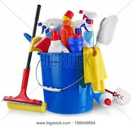 House Cleaning Equipment and Supplies in Bucket - Isolated