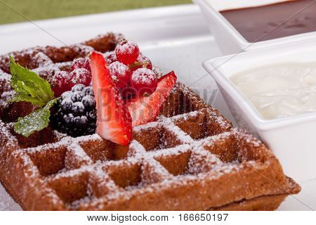 Viennese waffles with berries and sauces close up