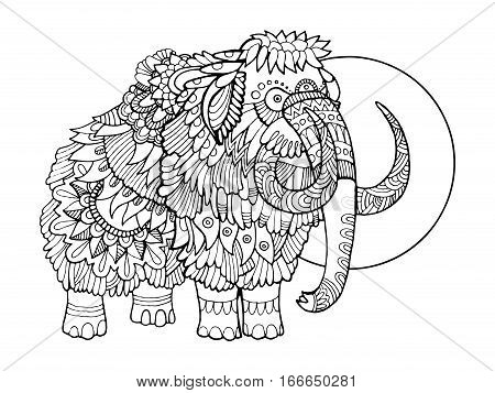 Mammoth coloring book vector illustration. Anti-stress coloring book for adult. Tattoo stencil. Black and white lines. Lace pattern