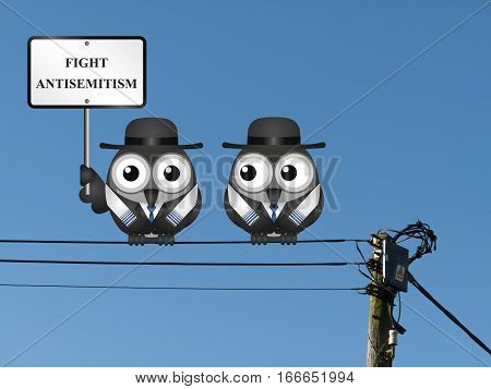 Fight antisemitism message with Jewish characters wearing Tallit prayer shawls  perched on electrical cables