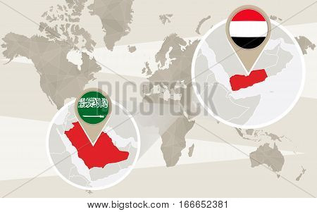 World Map Zoom On Yemen, Saudi Arabia