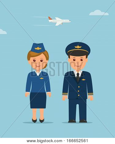 Cartoon design characters stewardess and pilot. Vertical flat illustration pilot and stewardess in uniform on background of a flying airplane.