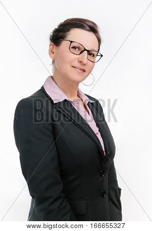 Cute business woman in black jacket on white background