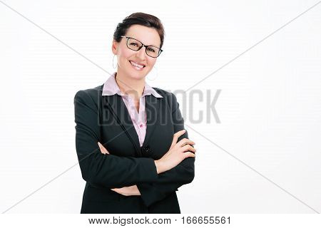 Cute business lady in black jacket on white background
