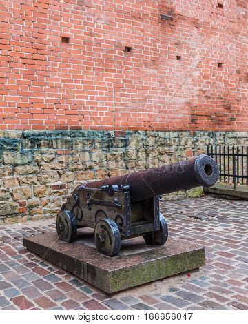 RIGA LATVIA - 2ND JAN 2017: An old canon near the Latvian War Museum in Riga Old Town