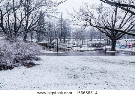 RIGA LATVIA - 2ND JAN 2017: A view of Bastejkalna park in Riga in the winter. Lots of snow can be seen.