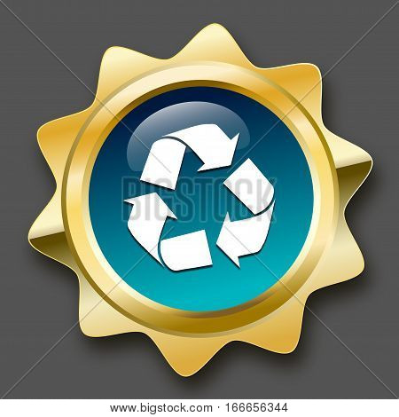 Recycling seal or icon with recycle symbol. Glossy golden seal or button with stars and turquoise color.
