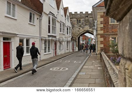 Salisbury UK - October 2016: Remnants of Salisbury's medieval past are very well preserved