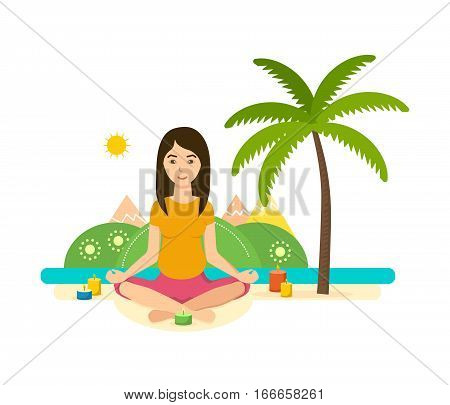 The girl is engaged in the lotus position in yoga and meditation, rest and recuperate, tropical summer, outdoors. Vector illustration. Can be used as banner, commercial materials.