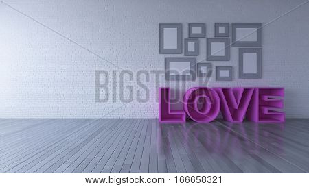 3d rendering image of interior design living room. the pink color word