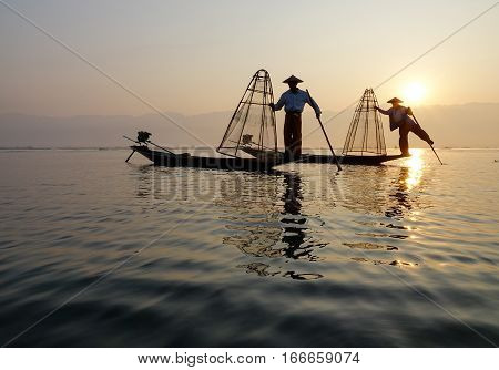 Catching Fish On Inle Lake At Early Morning