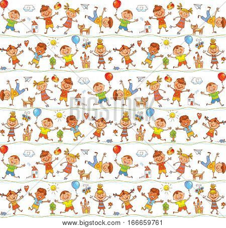 Seamless ornamental pattern for kids, web sites, textile industry, magazines. In the style of children's drawings. Freehand drawing. Vector illustration. Isolated on white background