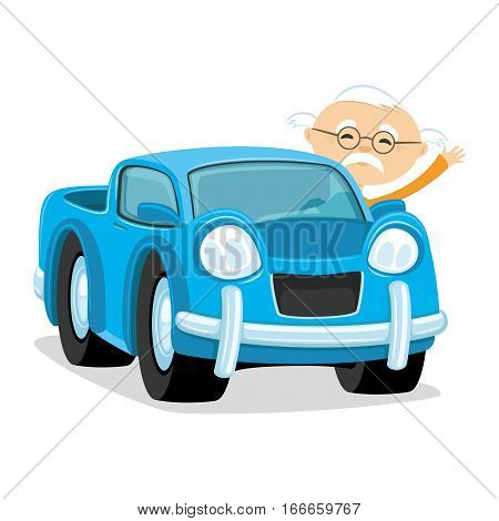 Blue car with a driver on a white background.