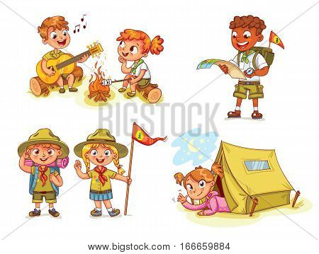 Scout honor hand gesture. Camping. Boy playing guitar around the campfire. Kid studying a tour route map. Girl lying in camping tent. Roasting marshmallows on campfire. Funny cartoon character. Set