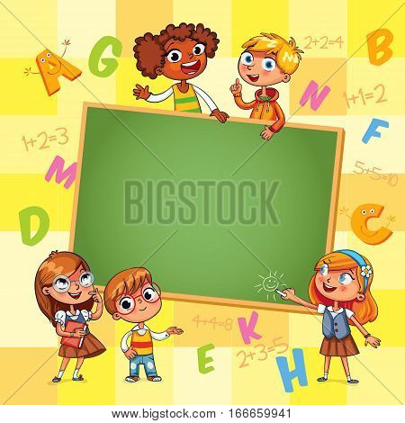 Back to school. Template for advertising brochure. Ready for your message. Happy children holding blank poster. Kid pointing at a blank template. Funny cartoon character. Vector illustration