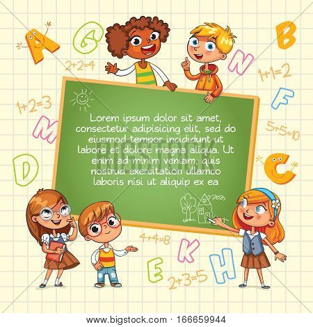 Back to school. Template for advertising brochure. Ready for your message. Children look up with interest. Kid pointing at a blank template. Lorem ipsum. Funny cartoon character. Vector illustration