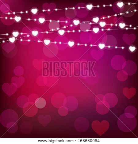 vector realistic st. valentine's lantern garland on purple background. st. valentine's card