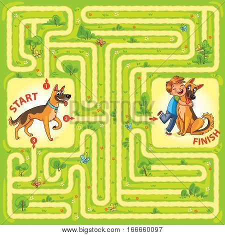 Help the dog to find the right way and hug the owner. Maze Game with Solution. Tangled lines. Funny cartoon character. Vector illustration
