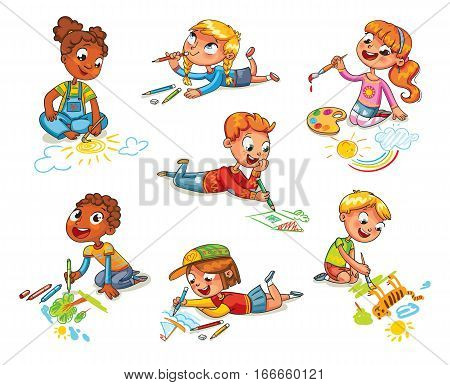 Little children draw pictures pencils and paints laying on floor. Kid lying on her stomach and making a drawing on a paper. Funny cartoon character. Vector illustration. Isolated on white background