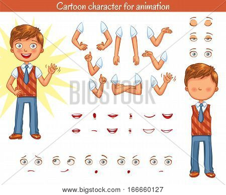 Schoolboy. Parts of body template for design work and animation. Face and body elements. Funny cartoon character. Vector illustration. Isolated on white background. Set