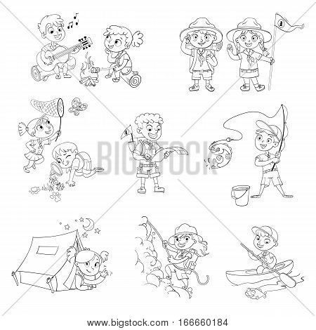 Scout honor hand gesture. Camping, fishing, kayaking, rock climbing, study route map, study of wildlife, roasting marshmallows on campfire, with guitar. Coloring book. Funny cartoon character. Set